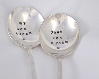 My ice cream, Your ice cream-Silver plated- hand stamped engagement gift -wedding present