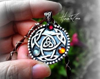 CELTIC KNOT silver pendant - Pagan Jewelry - UNIQUE Metalwork pendant - Folk silver necklace - Garnet, amber & labradorite silver pendant