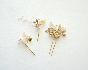Gold bridal hair pins set, Woodland bridal hair set, Wedding hair pins, Bridal hair jewelry, Gold wedding, Wedding hair, Bridal hair, Bride