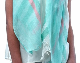 Women Lightweight Summer Multi Color Stripes Scarf Beige Blue Green Multi Color Spring Gift Mother Love