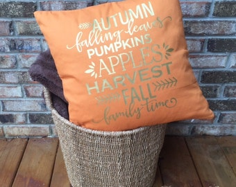 Fall Pillow Hello Fall! Pillow Cover - Autumn Pillow Cover Decor - Housewarming Gift - Thanksgiving Decor - Fall Throw Pillow