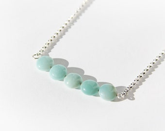 Amazonite Necklace Sterling Silver Chain Light Green Small Round Circle Beads Bar Necklace Seafoam Green Delicate Green Necklace #15301