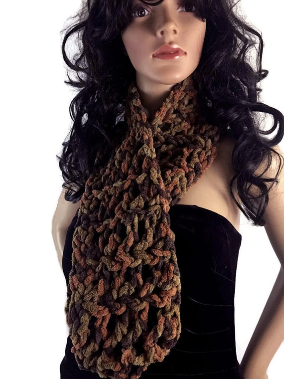Unisex Chunky Soft Long Brown Outlander Cowl Circle Scarf - Gift Under 50 - Vegan Suede - Winter accessories Crochet Knit FREE SHIPPING CS11