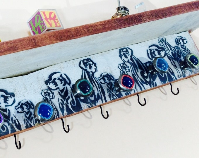 Dog leash holder Pet storage wall coat rack with shelf /floating shelves /entryway organizer reclaimed wood mudroom decor 8 hooks 7 knobs