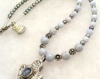 """Blue Lace Agate or Rainbow Moonstone Pendant Necklace. Sterling Silver, 22"""" or 16"""" w/ Pearl. tiny Buddha amulet. free US ship"""