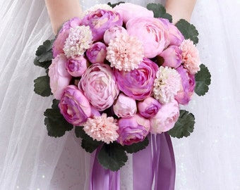 Peony Wedding Bouquet - Purple/Pink/Lavender/Blush