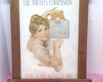 "FRAMED COVER ART is an Original Art Print of 1/6/16 ""The Youth's Companion"" Magazine of a Lovely Young Lady titled ""New Year's Number 1916"""