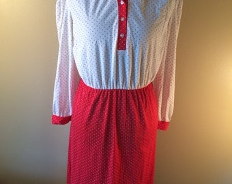 Vintage Minnie Mouse Dress // Red and White Polka Dot Dress // 1970s Collared Dress