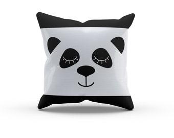 Panda Face Black and White Circles Pillow, Nursery Pillow,Throw Pillow, Kids Throw Pillow, Children's Panda Pillow