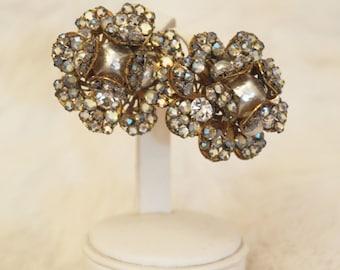 Vintage gold and aurora borealis rhinestone art deco Miriam Haskell signed earrings