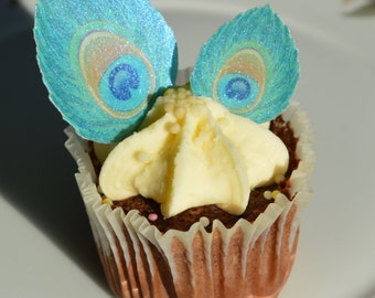 Edible Peacock Feather Eye Art Deco Blue Turquoise Iridescent Wafer Rice Paper - Wedding Cake Pop Favours Toppers Cupcake Cookie Decorations