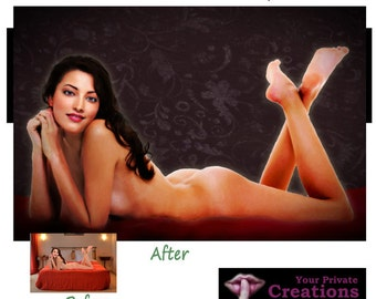 Your SEXY EROTIC PHOTOGRAPHY turned into Art - A Boudoir Art Masterpiece in Oil Painting look - printed on canvas - nude ok - mature
