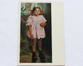 "Artist Bozhiy Vintage Soviet Postcard ""Tanya with an orange"" - 1964. Mystetstvo, Kiev. Girl, Child, Fruit, Orange, Bows, Dress, Flower, Pink"