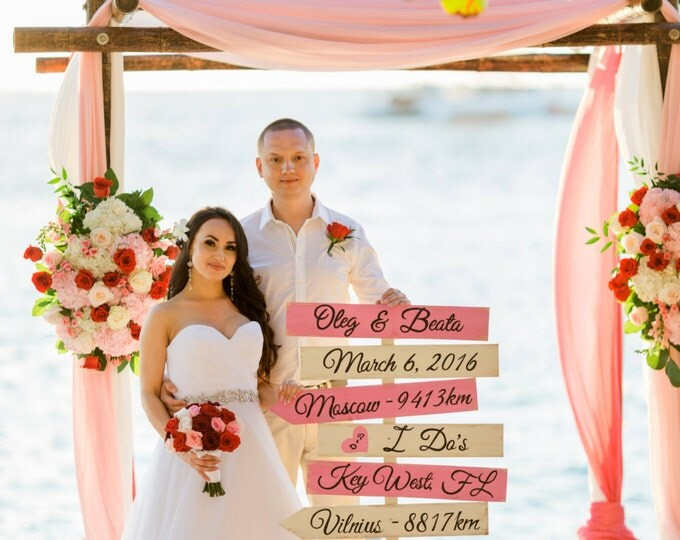 Blush Pink Wedding Beach Directional Sign, Rustic Chic Wedding Decor, I Do's Arrow Wood Sign, Wedding Gift For Couple