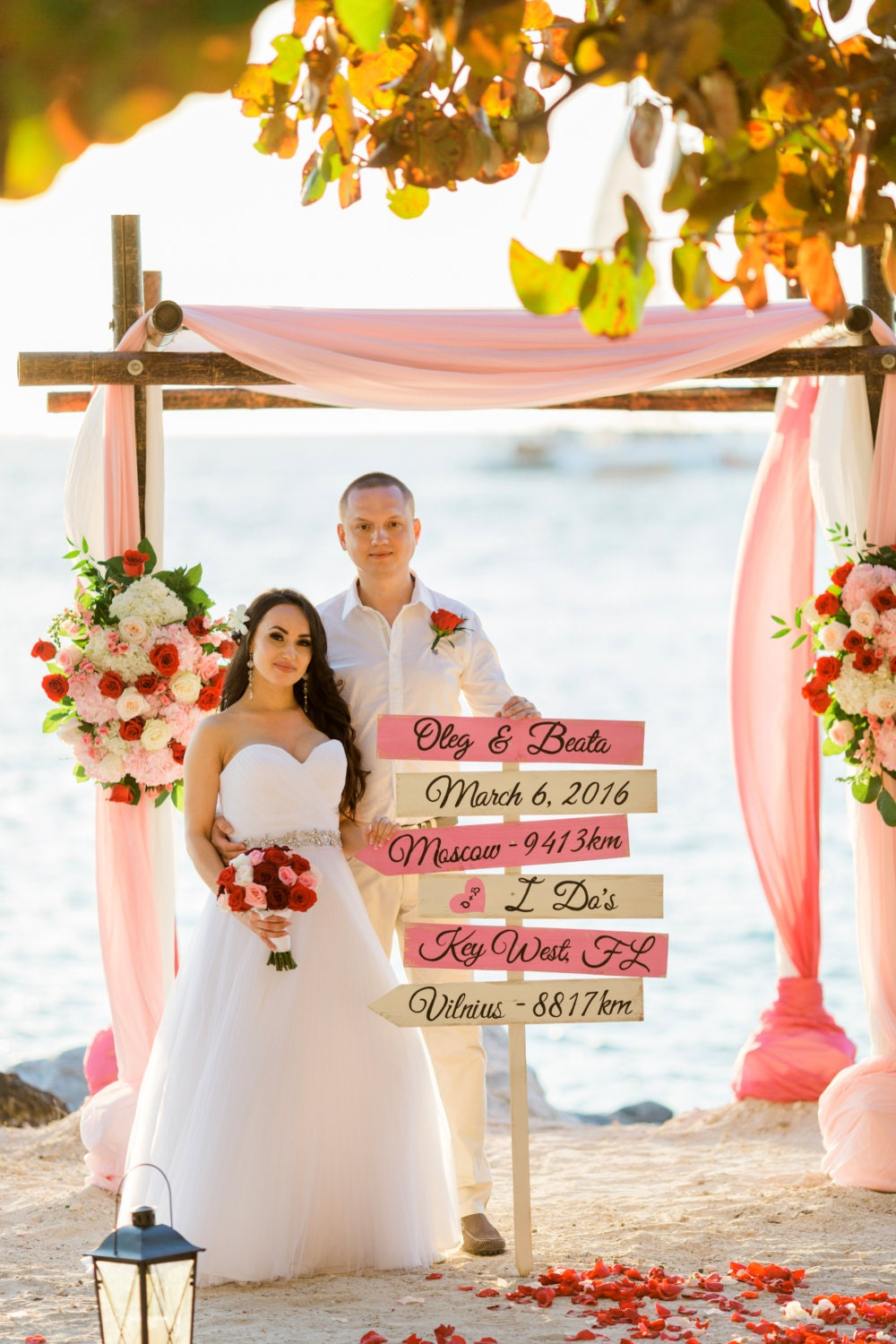 Blush Pink Wedding Beach Directional Sign Rustic Chic Decor I Dos Arrow Wood Gift For Couple