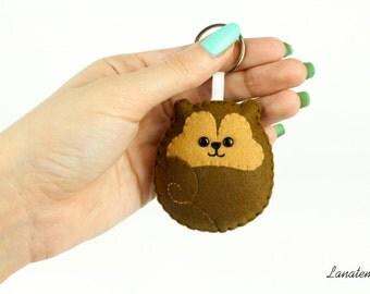 SQUIRREL KEYRING, felt squirrel keychain, adorable purse accessory, plush squirrel, round animals keychain, brown keychain