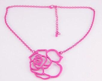 Large Rose Necklace Open Contour Light Bib Necklace One Of A Kind Vintage Roses Belle Necklace