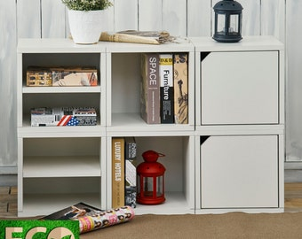 White Eco Friendly 6 Cube Storage and Stackable Storage Cube Bookcase and Bookshelf by Way Basics - Perfect for Dorms
