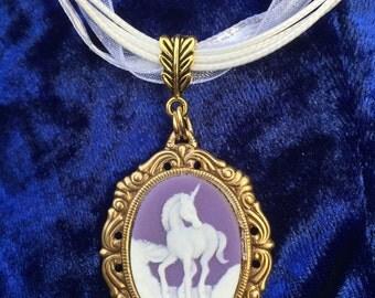 Unicorn Daydream Cameo Pendant Necklace