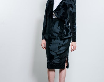 Vivienne Westwood Black Brocade Velvet Suit / High Waist Pencil Skirt and Jacket