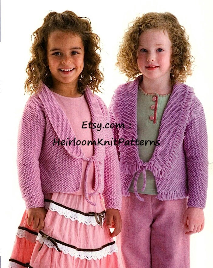 Knitting Pattern For Edge To Edge Cardigan : Girls Knitting Pattern Edge to Edge Cardigan 2-10yrs DK/ 8ply