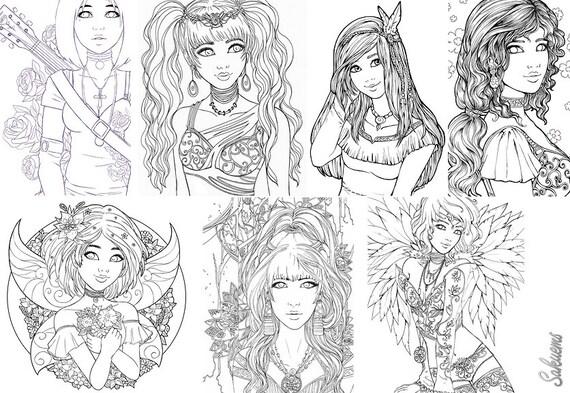 DIGITAL Adult Coloring Book 20 Designs Fantasy Line Art By