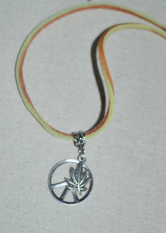 Necklace Peace & Pot Leaf on Leather, Weed Leaf Necklace, Peace Sign Hippie Necklace, Hippie Necklace, Leather Peace Necklace, Marijuana