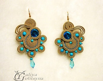 Soutache earrings Large Drop Statement Turquoise earrings Chandelier Earrings Turquoise Drop Earrings Gold-blue Ohrringe Sutache jewelry