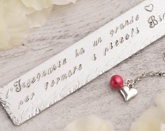 Teacher bookmark as retirement gift with engraved quote bookmark - metal bookmark for personalized Teacher retirement - hand stamp bookmark