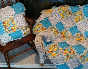 Rag Quilt, Ducks and Polka Dots,  Lap Quilt & Pillow Set, Handmade, Unique Gift,  Ready to Ship