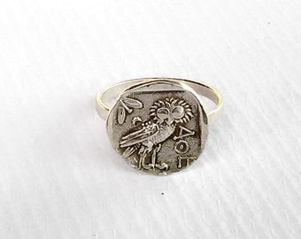 Goddess Athena Silver Owl Ring , Ancient Greek Ring ,  All Sizes Ring , Ancient Coin Jewelry , EGST , Greek Jewelry, Athena Silver Coin Ring