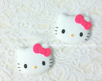 Large Hello Kitty Face Head Hot Pink Bow Cabochon Resin Flatback Scrapbook Supplies - 2 PCS - 45mm
