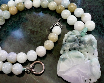 """Multicolor Jade Bead and Carved Jade Pendant Necklace (approx. 22"""" long)"""