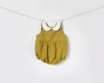 Linen Boy & Girl Baby Romper  in Mustard, Toddler Clothing, White Peter Pan Collar, Baby Outfit, Bubble Romper, Retro baby, Autumn Baby