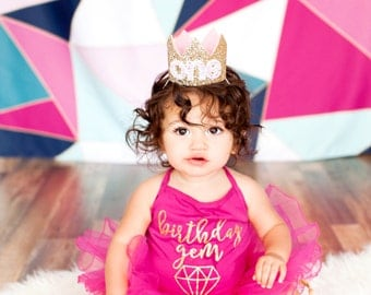 First Birthday Crown | 1st Birthday Girl Outfit for Cake Smash | Baby Girl First Birthday Outfit | 1st Birthday Hat | color