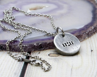Pewter 11:11 Jewelry - Make a Wish Necklace - 1111 Necklace - Make a Wish - Ascension Necklace - Synchronicity Necklace - 111 Necklace