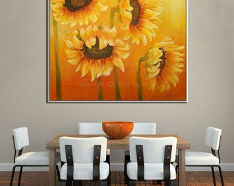 Contemporary Landscape Print, Flower Wall Art Canvas, Sunflower Art, Sunflower Wall Art, Contemporary Art Flower Wall Decor, Wall Art