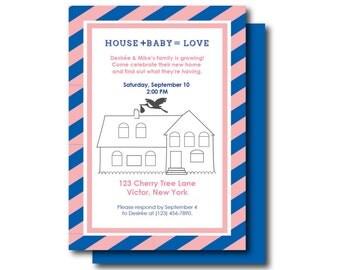 Housewarming and Baby Shower Invite - Gender Reveal Invitation (New House New Baby, Housewarming, Housewarming & Baby Shower, Gender Reveal)
