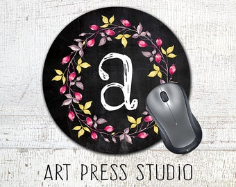 Monogrammed Wreath Mousepad, Chalkboard Initial Monogram Mouse Pad, Chalk Monogram Mousepad, Boho Chic Mouse Pad