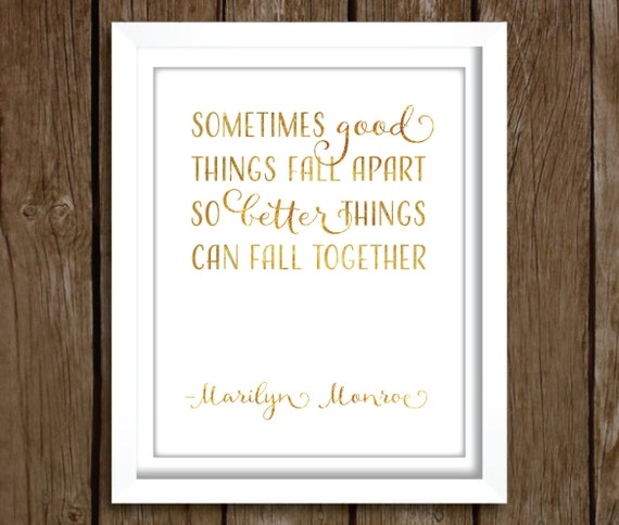 Marilyn Monroe Quotes Better Things Can Fall Together: Marilyn Monroe Quote PRINTABLE Instant Download Gold By Ellums