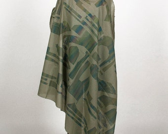scarf shawl screenprinted cotton pattern print color dark green blue purple graphic