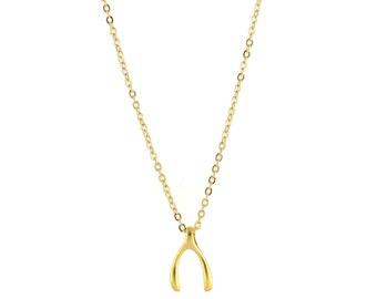 Wishbone Necklace, Gold Wishbone Necklace, Lucky Charm Necklace, Good Luck Necklace, Lucky Necklace, Gold Wishbone Charm Necklace