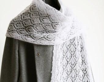 Lace Mohair Scarf, Grey Mohair Scarf, Grey Lace Scarf, Thin Knit Scarf, Estonian Lace
