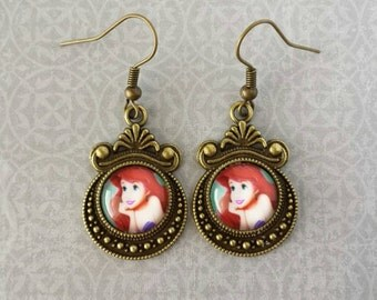 The Little Mermaid Ariel Decorative Dangle Earrings (Bronze)