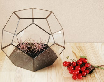 Large Geometric Terrarium, Handmade Glass Terrarium, Centerpiece, Container, Holiday Gifts, Gifts for Him, Wedding Decor, Wedding Box
