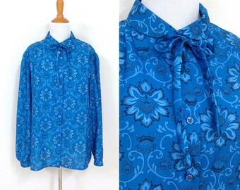70s Blue Victorian Print Button Up Blouse Size XL 2X