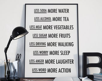 Less Soda More Water, Motivational Print, Inspirational Art, Vegetarian Print, Vegan Art, Lifestyle Poster, Black and White, Hipster Print