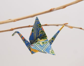 "Brooch in blue ""Crane"" origami patterned of Eve"