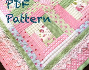 Chic Baby Girl Quilt Pattern, Log Cabin Quilt Pattern, Modern Baby Quilt Pattern, Baby Quilt Pattern, PDF Pattern - Quilt