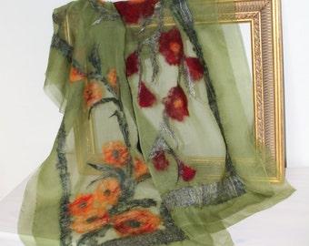 Handmade yellow/orange and red/burgundy flowers - nuno felt scarf, felted wrap